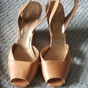 Prada Tan Slingback Wedge,  Sz 37.5